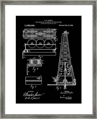 Howard Hughes Drilling Rig Patent 1914 - Black Framed Print by Stephen Younts