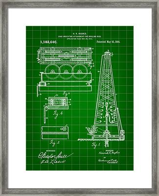 Howard Hughes Drilling Rig Patent 1914 - Green Framed Print by Stephen Younts