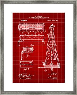 Howard Hughes Drilling Rig Patent 1914 - Red Framed Print by Stephen Younts