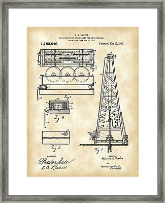 Howard Hughes Drilling Rig Patent 1914 - Vintage Framed Print by Stephen Younts