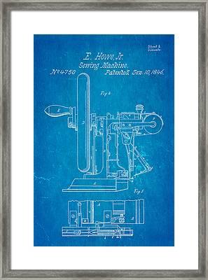 Howe Sewing Machine Patent Art 1846 Blueprint Framed Print by Ian Monk