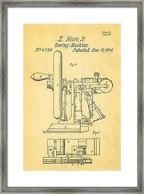 Howe Sewing Machine Patent Art 1846  Framed Print by Ian Monk