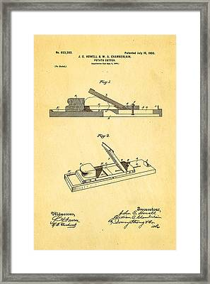 Howell And Chamberlain French-fry Potato Cutter Patent Art 1900 Framed Print by Ian Monk