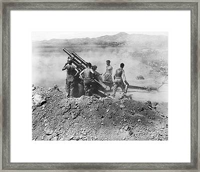 Howitzer Shelling In Korea Framed Print by Underwood Archives
