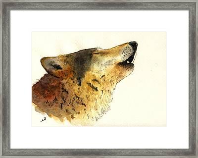 Howling Wolf. Framed Print by Juan  Bosco