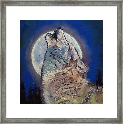 Howling Wolf Framed Print by Michael Creese