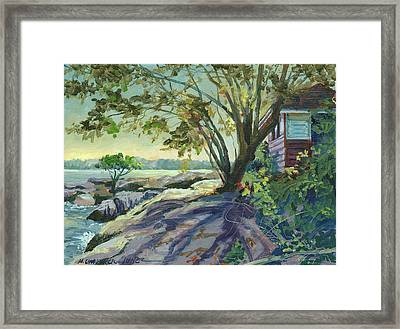 Huckleberry Island Backlight Framed Print by Marguerite Chadwick-Juner