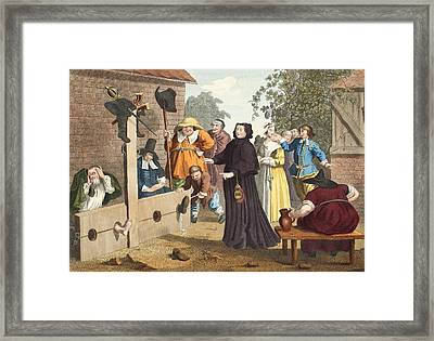 Hudibras And Ralpho In The Stocks Framed Print by William Hogarth