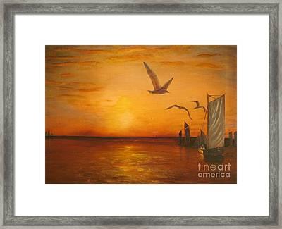 Hudson River Sunset  Framed Print by Anthony Morretta