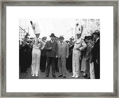 Huey Long And Governor Conner Framed Print by Underwood Archives