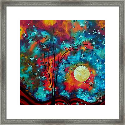 Huge Colorful Abstract Landscape Art Circles Tree Original Painting Delightful By Madart Framed Print by Megan Duncanson