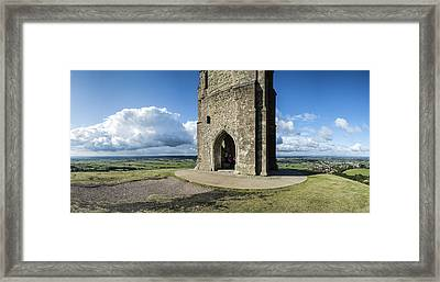 Huge Panorama Landscape Glastonbury Tor View Over Glastonbury In Framed Print by Matthew Gibson