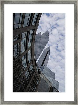 Hugging The Clouds At Columbus Circle - Manhattan New York City Framed Print by Georgia Mizuleva