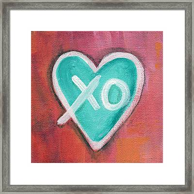 Hugs And Kisses Heart Framed Print by Linda Woods