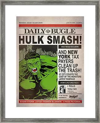 Hulk Smash - Daily Bugle Framed Print by Mark Rogan