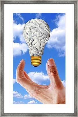 Human Brain In Shape Of Lightbulb Framed Print by Victor De Schwanberg