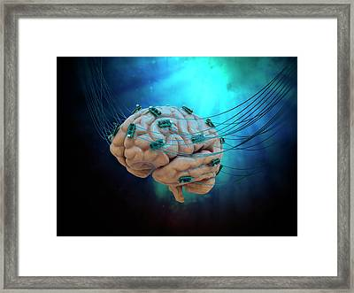Human Brain With Cables And Microchips Framed Print by Andrzej Wojcicki