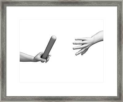 Human Hand Passing Relay Baton Framed Print by Sebastian Kaulitzki