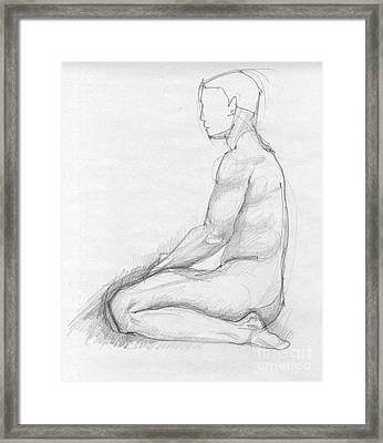 Human Sitting Figure Framed Print by Peut Etre