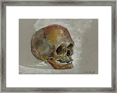 Human Skull Study Framed Print by Juan  Bosco