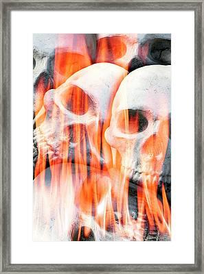 Human Skulls In Flames Framed Print by Victor De Schwanberg