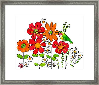 Hummingbird And Flowers Framed Print by Blenda Studio