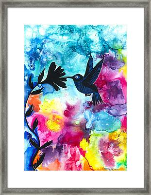 Hummingbird Framed Print by Cat Athena Louise