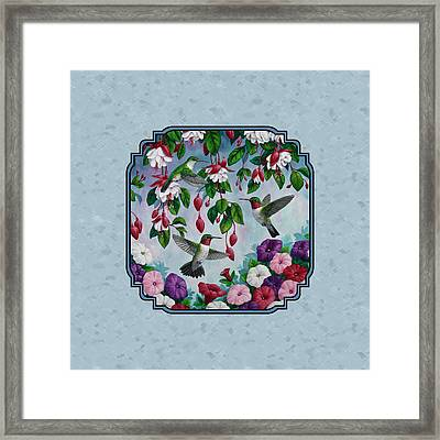 Hummingbirds And Flowers Cyan Pillow And Duvet Cover Framed Print by Crista Forest