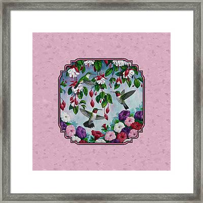 Hummingbirds And Flowers Pink Pillow And Duvet Cover Framed Print by Crista Forest