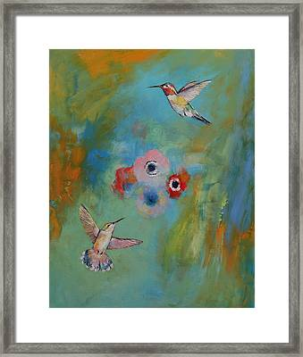 Hummingbirds Framed Print by Michael Creese