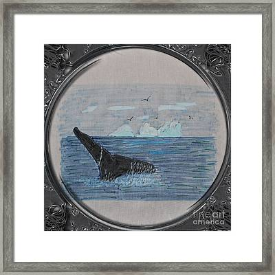 Humpback Whale Tail And Icebergs - Porthole Vignette Framed Print by Barbara Griffin
