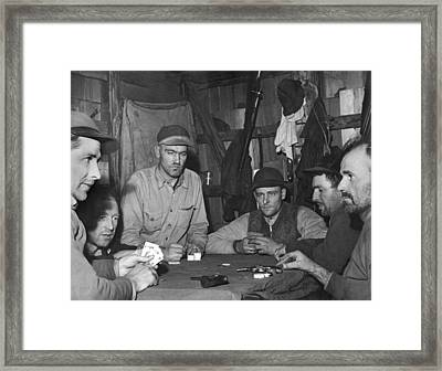 Hunters Playing Poker Framed Print by Underwood Archives