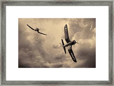 Hunters - Sepia Framed Print by Peter Chilelli
