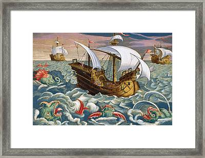 Hunting Sea Creatures Framed Print by Jan Collaert
