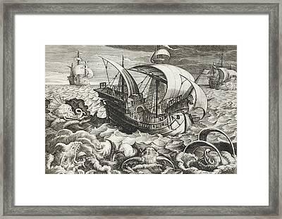 Hunting Sea Creatures Framed Print by Jan Van Der Straet