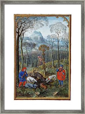 Hunting Wild Boar Framed Print by British Library
