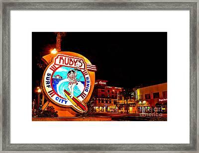 Huntington Beach Downtown Nightside 2 Framed Print by Jim Carrell