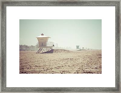 Huntington Beach Lifeguard Tower #1 Retro Photo Framed Print by Paul Velgos