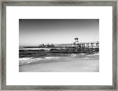 Huntington Beach Pier Black And White Picture Framed Print by Paul Velgos