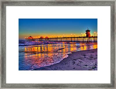 Huntington Beach Pier Sundown Framed Print by Jim Carrell