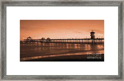 Huntington Beach Pier - Twilight Sepia Framed Print by Jim Carrell