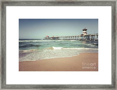 Huntington Beach Pier Vintage Toned Photo Framed Print by Paul Velgos