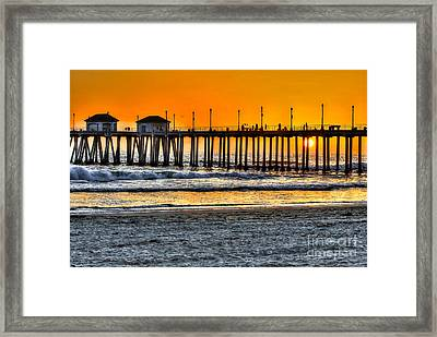 Huntington Beach Sunset Framed Print by Jim Carrell