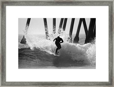 Huntington Beach Surfer Framed Print by Pierre Leclerc Photography