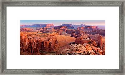 Hunts Mesa Panorama Framed Print by Inge Johnsson