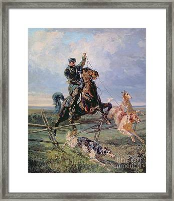 Huntsman With The Borzois Framed Print by Rudolph Frenz