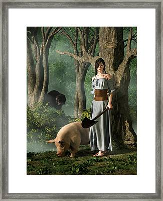 Huon The Truffle Hog Framed Print by Daniel Eskridge