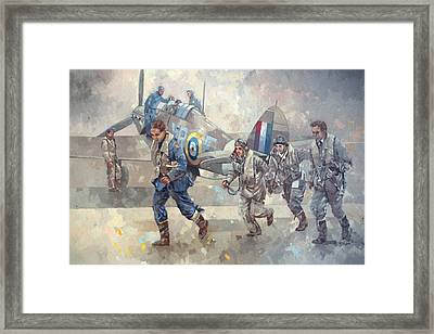 Hurrican Scamble Oil On Canvas Framed Print by Peter Miller