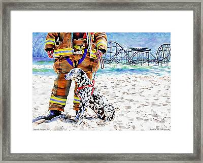Hurricane Sandy Fireman And Dog  Framed Print by Jessica Cirz