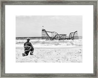 Hurricane Sandy Fireman Black And White Framed Print by Jessica Cirz